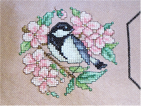 Bird and cherry blossoms left side