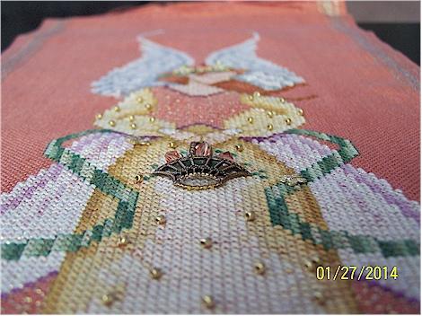 Close up of basket on Angel of Grace