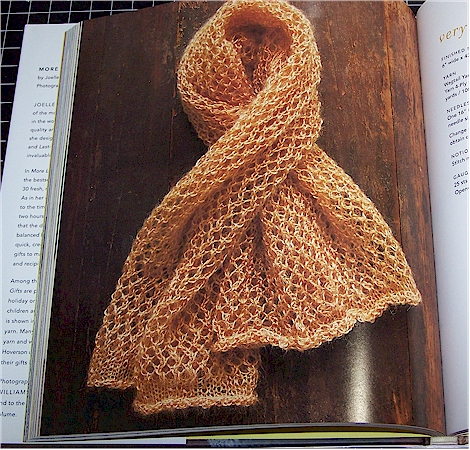 scarf in knitting book