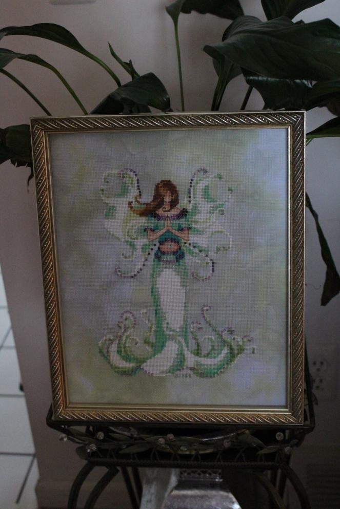 White Angel Trumpet framed