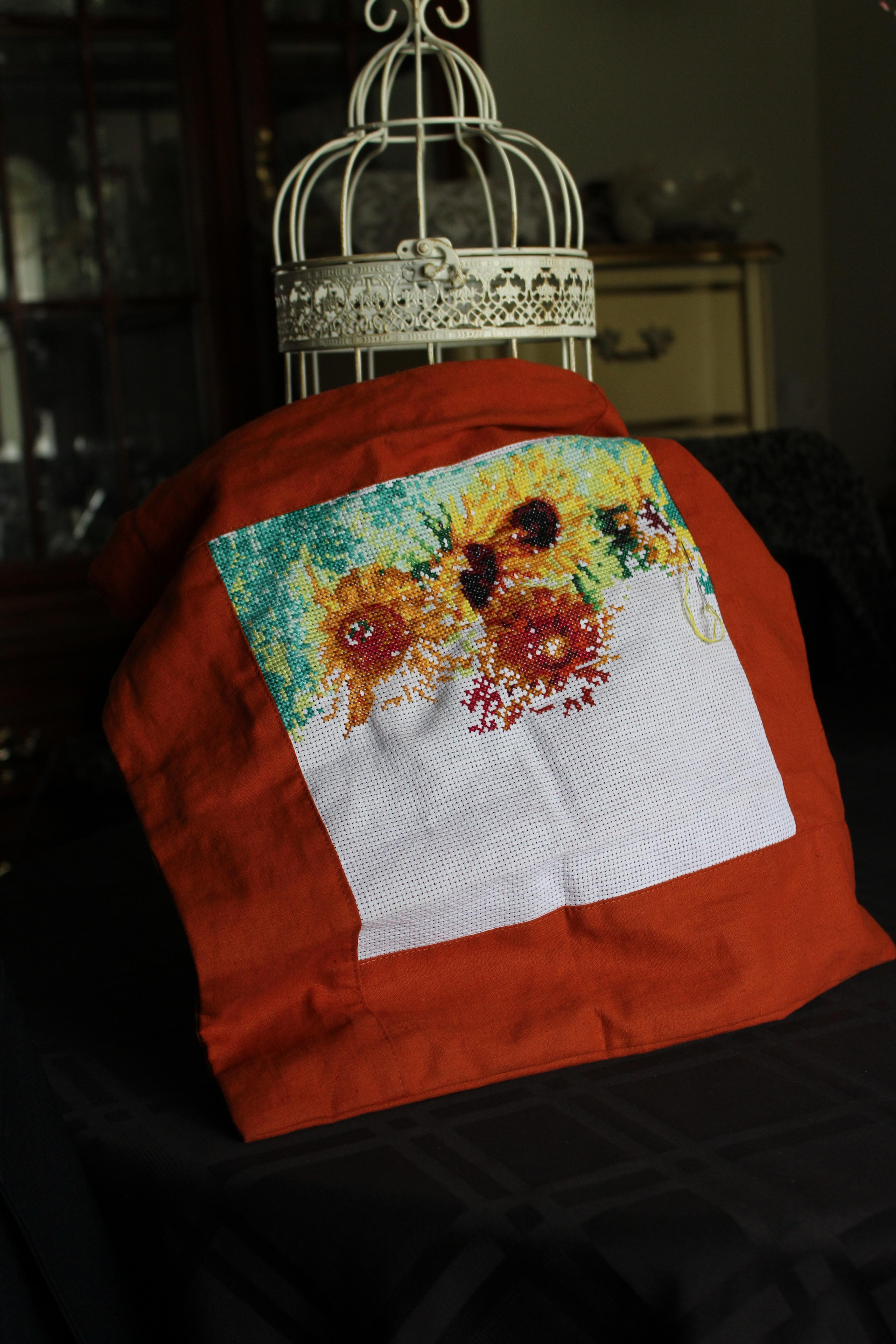 Sunflower Pillow progress