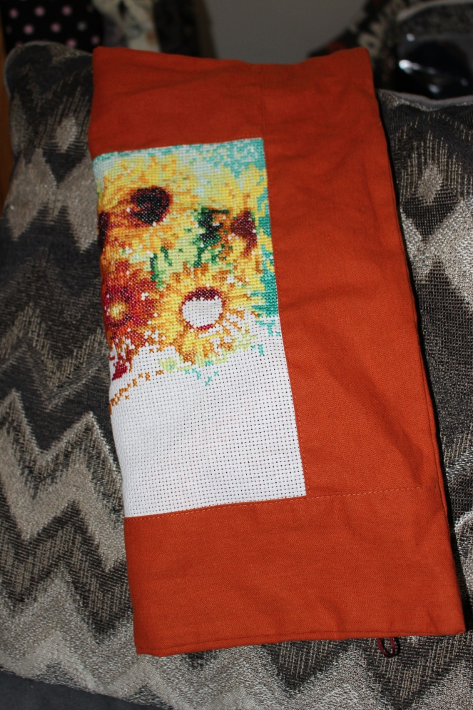 sunflower pillow progress 2
