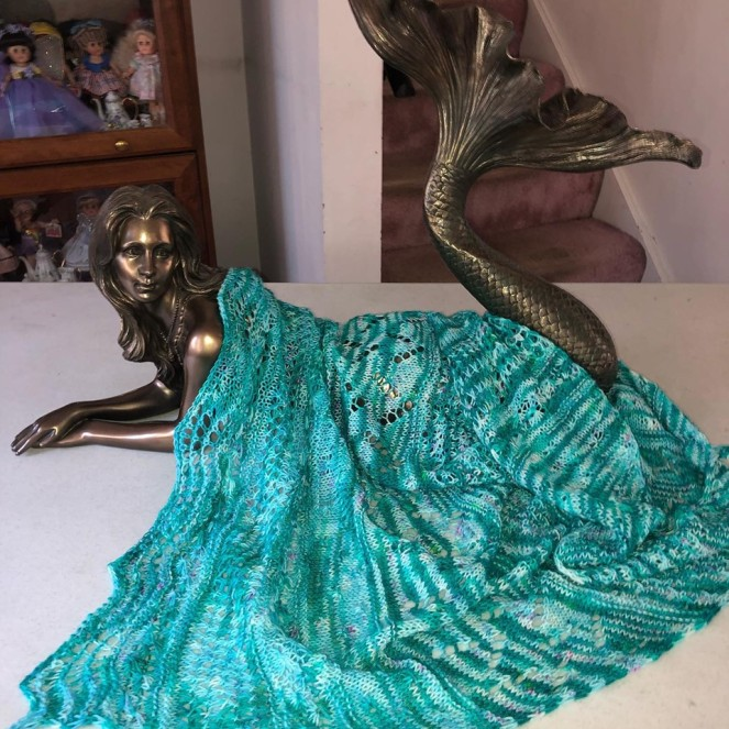 Mermaid shawl finished