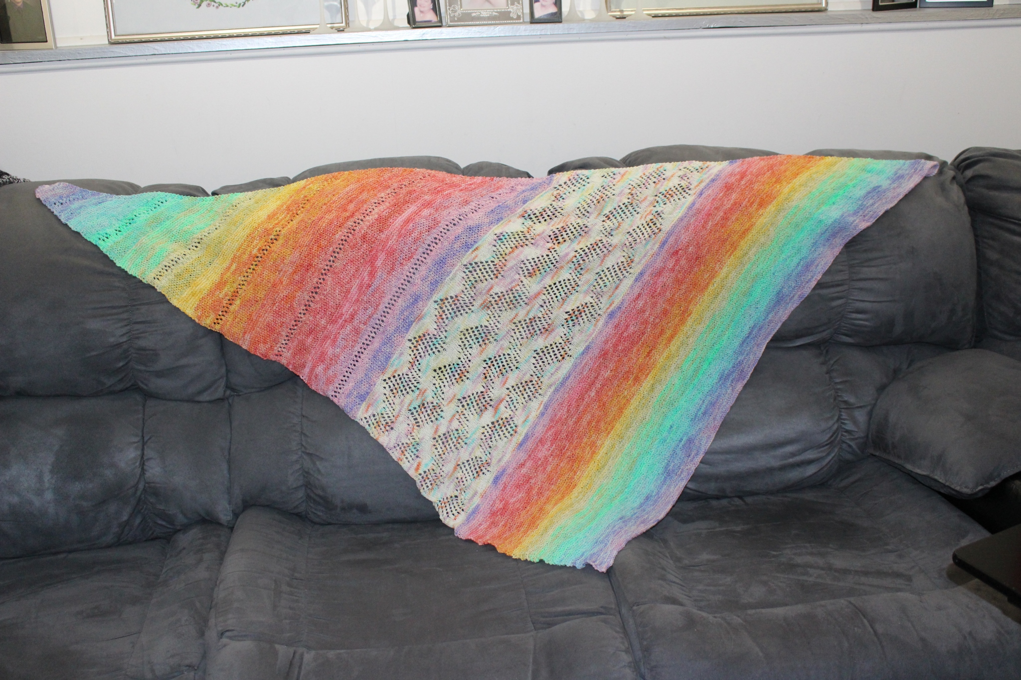 Rainbow of Hope shawl finish
