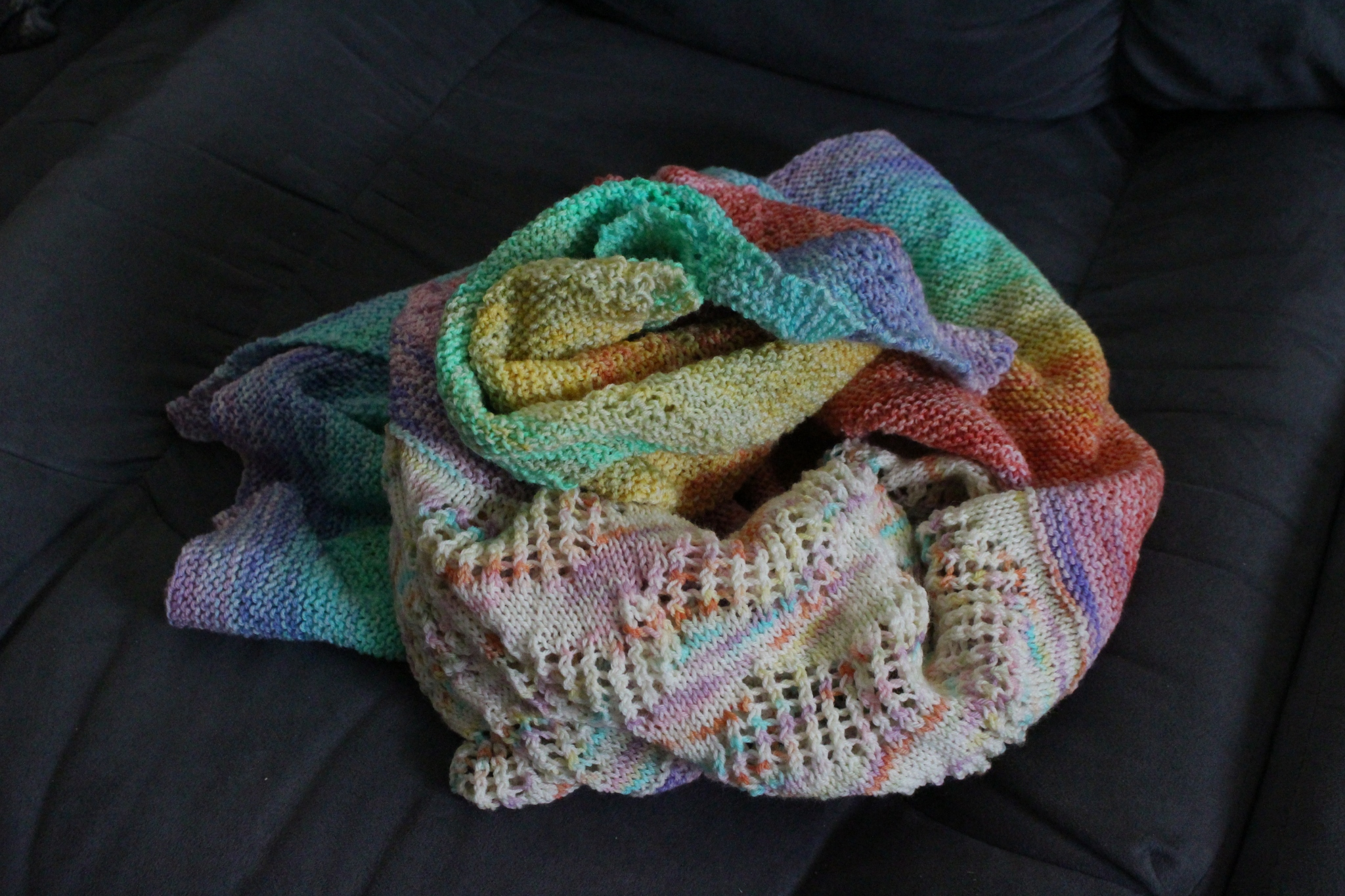 Rainbow of Hope shawl finished